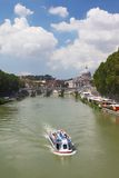 Tiber river, Sant' Angelo Bridge and Basilica Stock Image