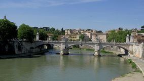 Tiber River Sant Angelo Sunny Day, Rome, Italy stock video footage