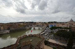 Tiber River, sky, city, town, cloud. Tiber River is sky, cloud and tourism. That marvel has city, water and building and that beauty contains town, river and royalty free stock photos