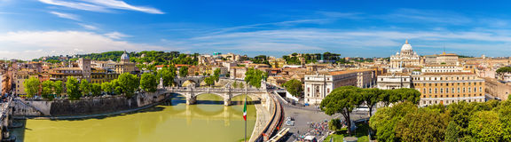 Tiber river and St. Peter Basilica in Rome. View of the Tiber river and the St. Peter Basilica in Rome - Italy Royalty Free Stock Photo