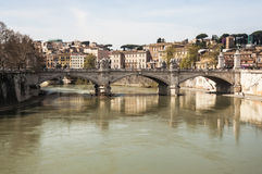Tiber river. View of the bridge in Tiber river in Rome, Italy royalty free stock photos