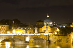 Tiber river and Vittorio Emanuele bridge Stock Photography