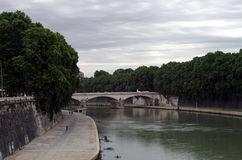 Tiber River Walkway Stock Image