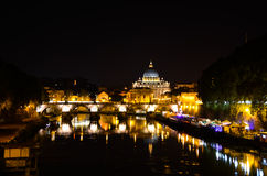 Tiber in Rome by night. Night photo of the Tiber in Rome during the summer royalty free stock image