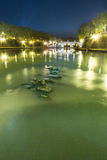 Tiber rzeka w Rzym przy nocą Obrazy Stock