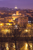 Tiber and Saint Peter. A night cityscape with Tiber river and Saint Peter cathedral Royalty Free Stock Images