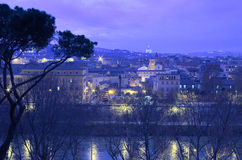 Tiber and Saint Peter. A night cityscape with Tiber river and Saint Peter cathedral Royalty Free Stock Photography