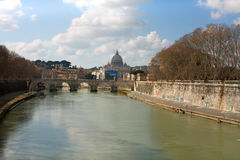 Tiber and St Peter Basilica in Vatican, Rome, Italy.  Royalty Free Stock Photo
