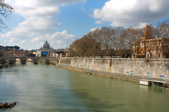 Tiber and St Peter Basilica in Vatican, Rome, Italy Royalty Free Stock Images