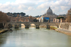 Tiber and St Peter Basilica in Vatican, Rome, Italy Stock Photography