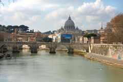 Tiber and St Peter Basilica in Vatican, Rome, Italy. Rome: feb 17. 2017 - Tiber and St Peter Basilica in Vatican, Rome, Italy Royalty Free Stock Image