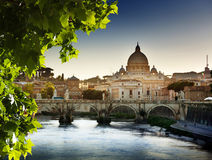 Tiber and St Peter Basilica Stock Images
