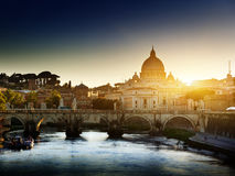Tiber and St Peter Basilica Royalty Free Stock Photo