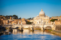Tiber and St. Peter's cathedral, Rome Stock Photo