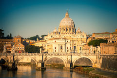Tiber and St. Peter's cathedral, Rome Stock Image