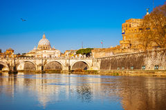 Tiber and St. Peter's cathedral in Rome Royalty Free Stock Photography