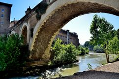 Tiber. View of the tiber river in the centre of Rome stock photography