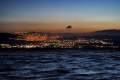 Tiberias city lights late at night. On the Sea of Galilee Royalty Free Stock Photography