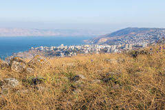 Tiberias city town and Kineret sea view. Stock Image