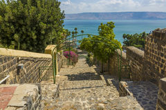 Tiberias esplanade to Sea of Galilee Royalty Free Stock Image