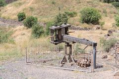Roman ballista of the 1st century AD, the time of the siege of the city of Gamla on the Golan Heights in Israel. Tiberias, Israel, 19 May, 2018 : Roman ballista stock photography