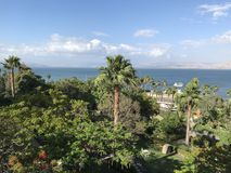 Scots Hotel grounds, Tiberias, Israel. TIBERIAS, ISRAEL - MAY 14, 2018: Scots Hotel grounds overlooking the Sea of Galilee. The hotel was once the site of a 19th Stock Image