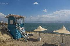 Tiberias swimming beach at the Sea of Galilee Stock Image