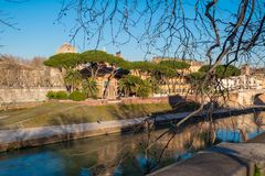 Tiberina Island (Isola Tiberina) on the river Tiber in Rome, Italy stock image