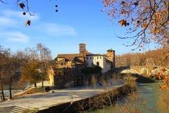 Tiberina Island Isola Tiberina on the river Tiber in Rome, Italy in autumn.  stock image