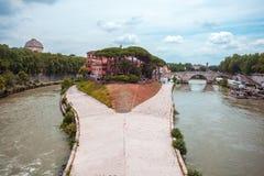 Tiberina Island Isola Tiberina on the river Tiber in Rome, Ita. Ly stock image