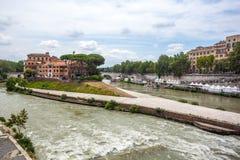 Tiberina Island Isola Tiberina on the river Tiber in Rome, Ita. Ly royalty free stock photo