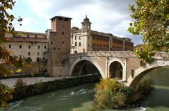 Tiberina Island in the Tiber River in Rome Royalty Free Stock Images
