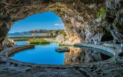 Tiberio ` s willa, rzymskie ruiny blisko Sperlonga, Latina prowincja, Lazio, środkowy Włochy Obrazy Stock