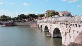 Tiberius桥梁里米尼意大利 股票视频