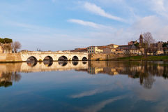 Tiberius Bridge. In Rimini, Italy . Constructed in the I century for the emperor Tiberius in marmol Stock Photography