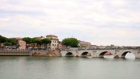 Tiberius bridge and old buildings Rimini stock video