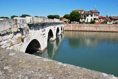 Tiberius' bridge, Rimini, Italy Stock Photography