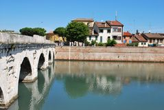 Tiberius' bridge, Rimini, Italy Royalty Free Stock Photography