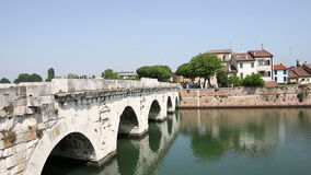 Tiberius bridge Rimini Italy stock footage