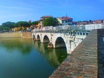 Tiberius Bridge in Rimini, Italy. Tourist attraction. Tiberius Bridge in Rimini, Italy. The bridge was built in Rimini in 14-21 years of our era. Its Stock Images