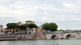 Tiberius bridge Rimini landmark stock video