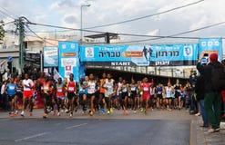 Tiberius Marathon Start. Tiberius Marathon 2013 Elite runners at the Start line Royalty Free Stock Photography