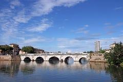Tiberius mosta punkt zwrotny Rimini Zdjęcie Stock
