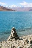 Tibet. A monument at lake Lhamo Latso, Tibet Stock Photography
