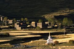Tibet. This is a village in tibet at autumn Stock Photos