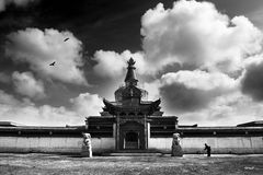 Tibet. It is black & white picture royalty free stock photo