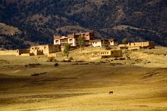 Tibet altiplano. This is a village in tibet altiplano stock photography