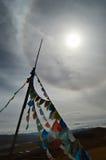 Tibet bönflaggor Fotografering för Bildbyråer