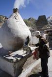 Tibet - Boeddhistische pelgrim in Lhasa Stock Afbeelding