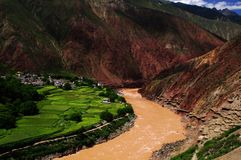 Tibet brine well. ,Manufacture of salt Stock Photography